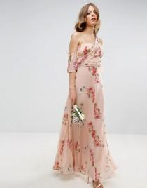 wedding photo - ASOS WEDDING One Shoulder Maxi Dress in Summer Rose Bouquet Print