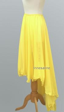 wedding photo - Assymetric chiffon hight low skirt  in bright yellow  color