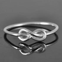wedding photo - Infinity ring, knot, best friend, promise,personalized, friendship, sisters, mother daughter, Bridesmaid Gift, Wedding Ring, Engagement Ring