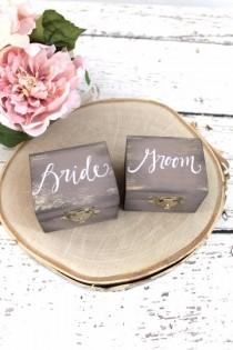 wedding photo - Bride and Groom Ring Boxes with Burlap, Ring Bearer Pillow, Ring Box, Rustic Vintage Weddings, Latched Wedding Box