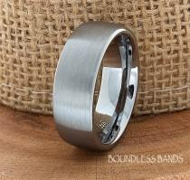 wedding photo - Tungsten Wedding Ring Dome Shaped Brushed Mens Wedding Band Custom Engraved Any Design Couple Wedding Band For Him Modern Unique Ring 8mm