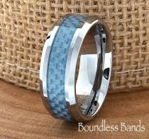 wedding photo - Blue Carbon Fiber Tungsten Wedding Ring Two Tone 8mm Mens Wedding Band Custom Laser Engraving Engagement Anniversary Comfort Fit Mans His