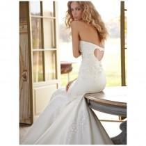 wedding photo - Schatz zurück trägerlos Fit-und-Flare Silk Organza Brautkleid bestickt - Festliche Kleider