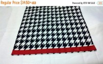 wedding photo - ON SALE NOW Houndstooth Table Linens- with red band- Houndstooth Table Runners, or Napkins, or Placemats,  Black and white,  Alabama,  Runne