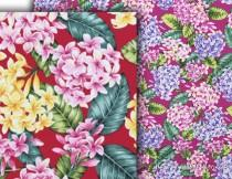 wedding photo - Fabric Hawaii Plumeria Clusters Tropical Floral, Fuchsia Red Yellow Pink Lavender, Cotton HCN10089/HCN10090 Ask for bulk