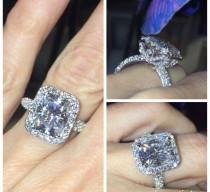 wedding photo - Forever One Moissanite & Diamond Halo Engagement Ring 14k White Gold 10x8mm Center 1.35ct Natural Diamonds Butterfly Design rings