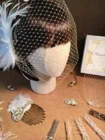 "wedding photo - 9"" French Net, Russian Tulle Custom Bandeau Birdcage Veil"