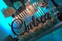 wedding photo - Sweet 16 Candlelabra //Personalized Name sign//Custom sign// Laser cut//Quinceanera// wedding decor// table decor//Custom sign for home