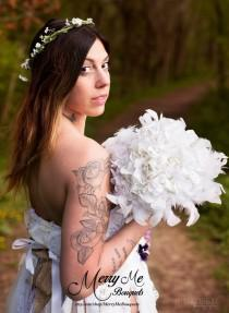 wedding photo - Hydrangea Feather Bouquet - Feather Bridal Bouquet - White Feather Bouquet - Hydrangea and Feather Bouquet - Ivory Feather Bouquet