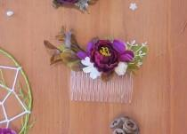 wedding photo - Bridal hair comb, Amaranth comb, Amaranth Flower hair comb for bride or bridesmaids, Rustic wedding, Boho wedding accessory, Country wedding
