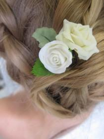 wedding photo - Ivory roses pin, bridal hair flower, bridal flower hair pin, wedding hair flowers, bridal hair pin, hair clay flower, bridal hair accessory