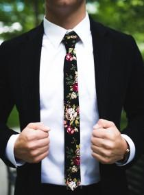 "wedding photo - Black Floral Skinny Tie 2"" Inch Necktie Retro"