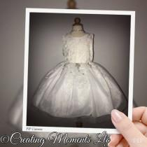 wedding photo - Pure White Princess styled flower girl wedding dress. Tutu pageant formal gown. Bridesmaids mini bride dress.