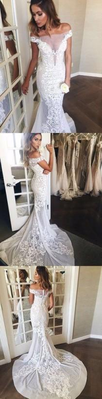 wedding photo - Mermaid Off-the-Shoulder Sweep Train Lace Wedding Dress Wedding Dresses