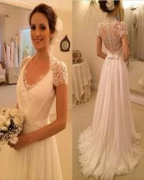 wedding photo - AHW036 A-line V-neck Cap Sleeve Blush Train Beach Wedding Dresses 2017