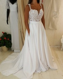 wedding photo - Spaghetti Strap Sweetheart Neck Lace Top Wedding Dress With Pocket On Skirt,apd2406