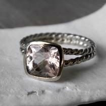 wedding photo - 14k Rose Gold and Morganite Rapunzel Ring, Custom Engagement Ring Made to Order, Recycled Gold