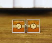 wedding photo - Bronze Coin Pattern with Monogram Cufflinks, monogrammed cuff links, custom wedding cufflinks, round, square cufflinks, tie clips, or set