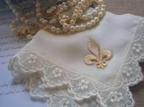 wedding photo - Fleur de Lis Wedding Hanky, Ivory or White Silk Handkerchief with Lace, All-around Swaroski Crystals and Golden Fleur-de-lis, New Orleans