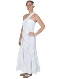 wedding photo - One Shoulder Hawaiian Wedding Dress - Hokeo May Lei