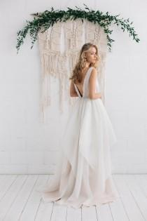 wedding photo - Wedding Dress , Gown, Pastel Champagne Ivory Nude Bridal  Dress ,V Neckline  Open Back Wedding Dress, Bohemian Gown - Lillian
