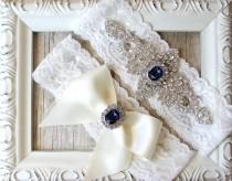 wedding photo - CUSTOMIZE Your Garter - Vintage Wedding Garter Set with Crystals & Rhinestones on Comfortable Lace, Bridal Garter Set, Crystal Garter Set