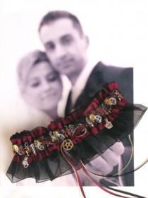 wedding photo - Steampunk - Wedding Garter - Toss Garter - Set - Gears - Steampunk Love Story...Dare to be Different