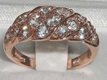 wedding photo - English 14K Rose Gold Natural Aquamarine Engagement Ring, Wave Line Cluster Ring, Half Eternity Wide Band Ring - Customize: 9K,18K Gold