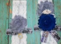 wedding photo - Police Officer Garter,Police Officer Garter Set,Something Blue,Handcuff Garter,Lace Garter Set,Plus Size Bride,Rhinestone Garter,