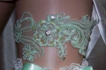 wedding photo - Mint Wedding,Mint Green,Mint Lace,Rhinestone Garter,Mint Garter,Mint Garter Set,Plus Size Garter,Bridal Accessories,FREE Toss Garter