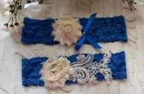 wedding photo - Something Blue,Royal Blue Garter,Wedding Garter,Lace Garter,Plus Size garter,Bridal Garter,Blue Lace Garter,Plus Size Bride
