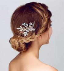 wedding photo - Bridal Hair Comb, Grecian Hair Comb, Leafs Hair comb, crystals hair comb, branch hair comb, boho hair comb