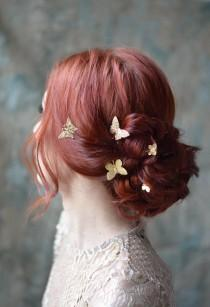 wedding photo - Butterfly bobby pins, golden hair pins, gilded hair clips, butterfly clip set, gold adornments, bridal hair clips, wedding hair clip set