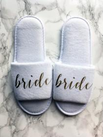 wedding photo - Gold Bride Slippers for Getting Ready, Bridal Showers