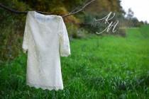 wedding photo - Arabella - flower girl dress, ivory lace dress, white ivory dress, baptism dress, girl dress, baby dress, toddler dress