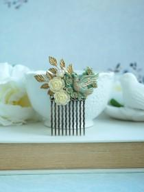 wedding photo - Mint Opal and Gold Comb Beige Flower Small Bridal Cream Mint Rose Hair Comb Flower Girl Comb Mint Opal Gold Hair Accessory, Bridesmaid Gift