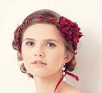 wedding photo - Red flower crown, red wedding floral crown, Valentines wedding hair accessories, Red bridal hair accessories, Red garnet hair accessories