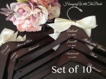 wedding photo - Hangers, Wedding dress hanger, Wooden Engraved HangerCustom Bridal Hangers,Bridesmaids gift, Wedding hangers with names,Custom made hangers