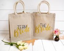 wedding photo - Team Bride - Bridesmaid Gift - Bride Gift - Cotton Hemp Bag, Ideal Wedding Hen Party Gift - Shopping Bag - Bachelorette Party Favour Bag