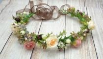wedding photo - Wedding hair piece Bridal flower crown Wedding flower headband Bridal hair accessories Bridesmaid flower crown Flower girl crown Gift