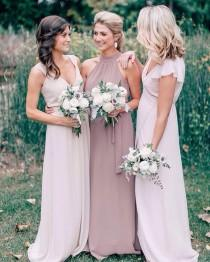 """wedding photo - Summer Watkins Ball On Instagram: """"Loving The Dusty Mauve And Taupe Palette Of These @joannaaugust Dresses. Check Out This Classic Wedding On The Blog Today! Link In Bio. //…"""""""