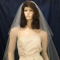 wedding photo - One Tier center gathered Bridal veil  fingertip length with plain cut raw edge
