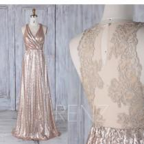 wedding photo - 2017 Tan Sequin Bridesmaid Dress Long, Ruched V Neck Wedding Dress, Lace Back Prom Dress, Maxi Dress, Luxury Evening Dress Floor (LQ269)