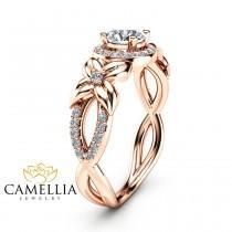 wedding photo - Halo Diamond Engagement Ring 14K Rose Gold Floral Ring Half Carat Natural Diamond Engagement Ring