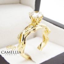 wedding photo - Natural Round Cut Diamond Ring18K Solid Yellow Gold Ring Leaf Ring 1carat Diamond Engagment Ring