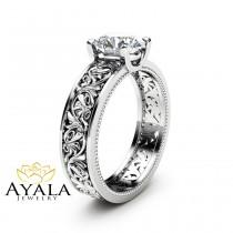 wedding photo - Solitaire Moissanite Engagement Ring Solid 14K White Gold Engagement Ring Filigree 1ct Moissanite Ring