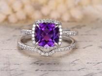 wedding photo - Amethyst Engagement Ring Set,8mm Cushion Cut Stone,14K White Gold,Diamond Curved Wedding Band,Wedding Ring Set,Bridal Set,Mother's Day Gift