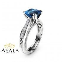 wedding photo - Victorian Topaz Engagement Ring 14K White Gold Engagement Ring Princess London Blue Topaz Ring