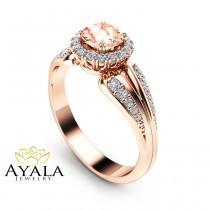 wedding photo - Rose Gold Morganite Engagement Ring Unique Vintage Ring Rose Gold Engagement Ring Halo Morganite Ring
