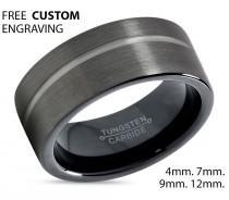 wedding photo - GUNMETAL Tungsten Ring Black Wedding Band Ring Tungsten Carbide 9mm Ring Man Wedding Band Male Women Anniversary Matching